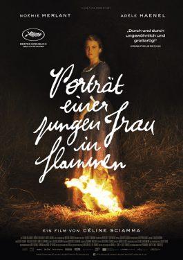 Porträt einer jungen Frau in Flammen Poster